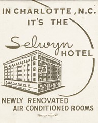 Selwyn Hotel - Charlotte, North Carolina (The Cardboard America Archives) Tags: northcarolina motel hotel matchbook matchcover vintage