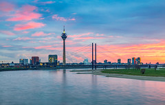 _MG_6628 - Dusseldorf sunset (AlexDROP) Tags: 2015 dusseldorf germany deutschland travel water color city urban landscape bridge tower skyline canon6d ef241054lis best iconic famous mustsee picturesque postcard bluehour sunset clouds