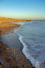 Cooden beach in the evening sun (1 of 1)-2 (masonandy2015) Tags: cooden beach calm groynes ocean sea shadow shingle stones sun sunset tide water waves winter