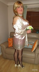 Bride to be (janegeetgirl2) Tags: transvestite crossdresser crossdressing tgirl tv ts trans jane gee wedding dress ivory full fashioned black stockings red seams seamed v suspenders heels posy bouquet satin legs pearl necklace