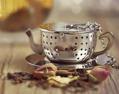 Unwind and have some tea (Through Serena's Lens) Tags: flickrfriday macromondays brew tealeaf teainfuser relaxing tea drink beverage utensil dof bokeh macro tabletop madeofmetal stilllife canoneos6dmarkii