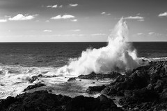 Breakers (Rico the noob) Tags: 2018 rock d850 landscape nature 58mmf14 outdoor 58mm water clouds published dof sky beach ocean monochrome rocks horizon blackandwhite wave tenerife sea teneriffa coast bw