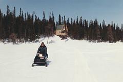 Labrador - 1986-04-04 (MacClure) Tags: canada newfoundland labrador family laurie snowmobile skidoo cabin