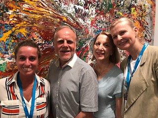 Amaria-Jose Fuentes Labbe, Director of ArtLabbe Gallery, with collector Eric DeGroot, Anne Freedman and Tatyana Enkin at Art Wynwood