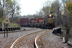 """""""Signs, Signs, Everywhere a Sign"""". RISI works the yard in Dubois as it takes head room toward the line to Brookville, PA. (u18b404) Tags: bprr emd kcs"""