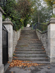 To Somerset Place (LeftCoastKenny) Tags: england day11 bath steps walls fences gate trees brush