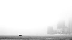 東 方 迷 霧 (Wilson Au | 一期一会) Tags: hongkong victoriaharbour 霧 misty mist foggy harbour sea boat buildings blackandwhite bw monochrome canon morning sailing eos5dmarkiii ef70200mmf40lisusm 香港 維多利亞港