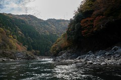 DSC09693 (wertyuioqp) Tags: river kyoto japan arashiyama boat rafting trees mountains nature autumn fall
