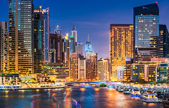 _DS20348 - Boats in Dubai Marina (AlexDROP) Tags: 2019 dubai uae emirates art travel architecture tower color cityscape skyline longexposure nikond750 afsnikkor28300mmf3556gedvr best iconic famous mustsee picturesque postcard bluehour