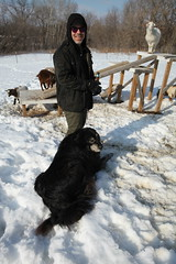 Scott with the guard dog (massdistraction) Tags: goats goatfarm stpatricksday party saunaparty march snow winter outside friends fun goat farm farmparty sauna rural country