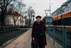Elderly woman approaching, Warsaw (ewitsoe) Tags: cityscape street warszawa winter erikwitsoe erikwitsoecom poland urban warsaw spring lady elderly woman ochota district day afternoon trams travel distance history