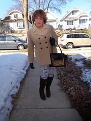 Woman, About To Go Out-and-About (Laurette Victoria) Tags: boots leggings coat gloves purse laurette woman