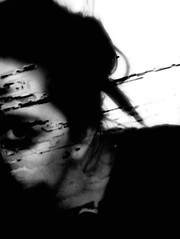 """homeless is this soul, for everywhere I look, the signs read EVACUATE."" SK (Manhattan Girl) Tags: shellykayphotography selfportrait doubleexposure textured bwphotography mywords monochromatic"