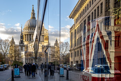 The thing about Omnipresence is that it's always there (London Lights) Tags: londonlights thethingaboutomnipresenceisthatitsalwaysthere london lights londres londra reflections stpaulscathedral stpauls cathedral architecture flag unionflag union red white blue city urban