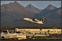 """N452QX Horizon Air """"Employee Powered"""" (Bob Garrard) Tags: de havilland canada dhc8402q dash 8 q400 n452qx horizon air employeepowered anc panc sunset"""