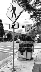 Off Kilter (Melinda * Young) Tags: crooked crosswalk car stop caution box accident monochrome sidewalk pole corner traffic pedestrian sign street equipment trafficlight ashby berkeley intersection crossing walk red arrow