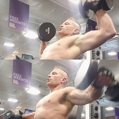 shoulder press n laterals (ddman_70) Tags: shirtless pecs muscle gym workout