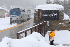 Arriving at Winter Park (Moffat Road) Tags: amtrak passengertrain winterparkexpress skitrain ge p42dc 57 platform winterpark amtrakstop winterparkresort ski winter train locomotive railroad upmoffattunnelsub formerriogrande colorado co