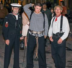 Sailors on The Strand (wyojones) Tags: texas galveston dickensonthestrand holidayfestival hat man sailor uniform belt costumes guys