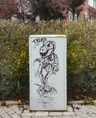 Tyranosauruetrottoir d'Uccle (BenoitGEETS-Photography) Tags: tyranosaure tyranosaurus uccle ukkle graph graffiti grafitti graphe dinosaure dinosaur huawey p8 trias