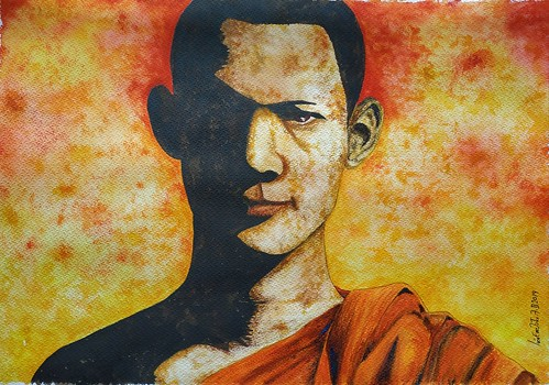 Tibetan Monk Watercolour