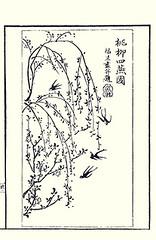 Peach and barn swallow by Fukubei (Japanese Flower and Bird Art) Tags: flower peach prunus persica rosaceae bird barn swallow hirundo rustica fukubei toya ohara ukiyo woodblock picture book japan japanese art readercollection