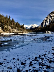 Freezin (Jamie Kerr) Tags: rockymountains photography canada banff mountains trees snow ice frozen river rocks advebture alberta exploreab explore outdoors nature iphone8 iphone