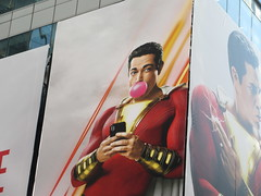Shazam The Big Red Cheese Billboard 42nd St NYC 3724 (Brechtbug) Tags: shazam billboard 42nd street new captain marvel the big red cheese poster ad nyc 2019 times square movie billboards york city work working worker paint painting advertisement dc comic comics hero superhero alien dark knight bat adventure national periodicals publication book character near broadway shield s insignia blue forty second st fortysecond 03142019 lightning flight flying march