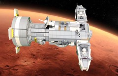 """The """"Wernher von Braun""""  The first manned mission to Mars (gould.bob) Tags: redplanet nasa exploration mars spaceship space moc lego"""