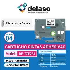 Pack 4 Cintas Tze231 12mm etiquetas adhesivas (Detaso) Tags: chile brother cinta etiqueta rotuladora etiquetas tze251 tze241 tze231 tze221 tze261 tze 12mm