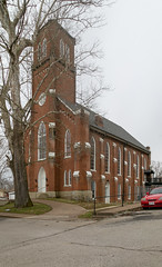 First Presbyterian Church — Ripley, Ohio (Pythaglio) Tags: church presbyterian ripley ohio unitedstatesofamerica us building structure ornate gothicrevival highgothic buttresses tree sidewalk street browncounty tower lancetarched windows sills parapeted louvers bro5317 1867