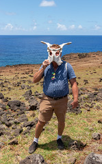 IMG_1010 (jaglazier) Tags: 121818 2018 adults animals chile december easterisland hairy hairylegs horses jamesaferguson jimferguson mammals masks men pacificocean portraits rocks seascapes cliffs coastlines copyright2018jamesaglazier hairyarms landscapes oceans pelvises skeletons volcanicrock valparaisoregion