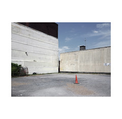 car park (chrisinplymouth) Tags: wall carpark cone stonehouse plymouth devon england uk city cw69x trafficcone corner r098 red orange diag xg diagonal