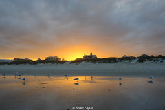jekyll island beach sunset with gulls (Brian Eagar Nature Photography) Tags: florida jekyll island sunset sky clouds sun color sand gull reflection fuji xt2 fujifilm xf23f2 xf23f2wr xf23 landscape