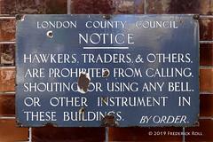 LCC Notice (© Freddie) Tags: lbsouthwark bermondsey se1 bermondseystreet thewoolpack lcc londoncountycouncil notice sign enamel enamelsign hawkers traders