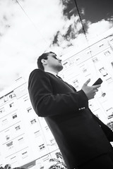 The Man in Black (lucas2068) Tags: valencia españa spain blancoynegro bw byn monochrome monocromo street man low angle