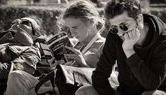 """Wynken, Blynken, and Nod"" (Canadapt) Tags: street people trio three book sleeping reading contemplating bw belém lisbon portugal canadapt"