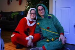 Santa and her Tree (flashfix) Tags: december232018 2018inphotos flashfix flashfixphotography ottawa ontario canada nikond7100 28mm portrait christmas couple onesies outfits tree santa