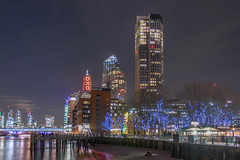 Oxo (AnthonyPaul_) Tags: skyline outdoor waterfront water architecture city building complex highrise skyscraper england london south bank oxo tower cityscape nightscape southbank thames reflection night sky river lights blue red