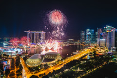 Fireworks show of the Singapore landmark financial business district at night (MongkolChuewong) Tags: aerial aerialview asia bay building business city cityscape district dome downtown drone exterior famous ferris fireworks flyer garden hotel landmark landscape laser light marina newyear night panorama park river sands sea show singapore singaporean sky skyline skyscraper southeastasia sunrise sunset tourism tower travel traveler twilight urban view water waterfront wheel