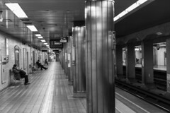 Awaza Station (Hideki-I) Tags: bw blackandwhite subway 白黒 黑白 nikon d850 2470 people awaza station osaka japan