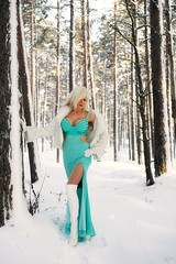 Turquoise & white (DZ-fotografia - 13 Million views, Thx) Tags: turquoise dress long legs boots white fur sexy lady woman gloves coat snow winter trees blonde hair
