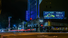 feastmode (pbo31) Tags: oakland eastbay alamedacounty nikon d810 color night dark black february 2019 boury pbo31 city urban theater neon sign downtown broadway paramount lightstream traffic motion roadway billboard