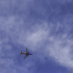 Airplane Over Almeda (Mabry Campbell) Tags: 2019 almedacrossing february houston mabrycampbell texas airplane blue image photo photograph plane sky