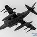 LOOKING UP AT RISING USMC AV-8B HARRIER UNDERBELLY IN B&W