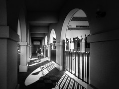 A beautiful sunny morning (明遊快) Tags: monochrome step street pedestrian urban city japan architecture building sunlight shadows lines fence woman pattern contrast winter sunny theater