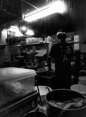 Ready to start (tokyobogue) Tags: tokyo japan sangenjaya nexus6p nexus blackandwhite blackwhite monochrome ramen shop interior ramenshop kitchen night