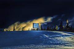 Fun Spiels... (Mister Day) Tags: night refinery edmonton alberta steam sign snow wind emptiness