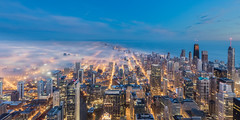 Chicago Fog At Predawn (jeff_a_goldberg) Tags: hdr willistower chicagoskyline sunrise winter travel chicago trumptower architecture hancocktower searstower skydeckchicago skyline artofchi illinois unitedstates us