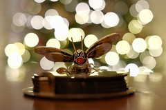 Spotted (MarcBphotos) Tags: ornement bee balls bokeh light christmas insect red yellow